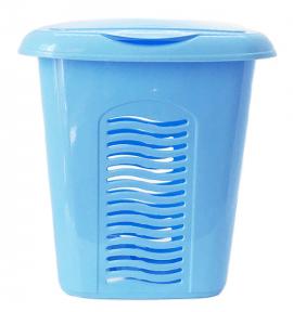 Корзина для белья пластмассовая 40л малая голубой