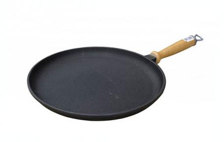 Сковорода блинная чугунная 260х25мм с деревянной ручкой