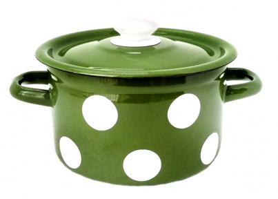Кастрюля эмалированная 2л 1610/4 Белый горох (зеленый)