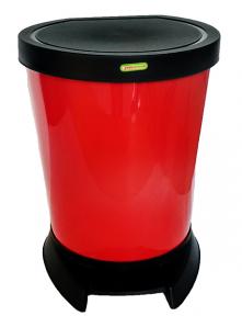 Ведро пластмассовое с педалью 18л красное