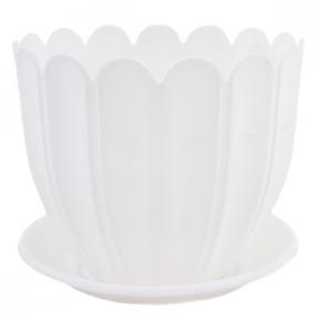 Цветочный горшок Марго 1.1л 140мм с подставкой белый