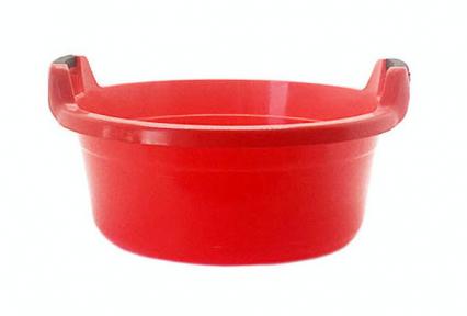 Таз пластмассовый 40л круглый с ручками красный