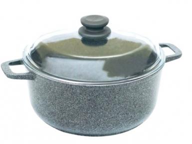 Кастрюля алюминиевая литая 4л К404ПС Гранит-Грей