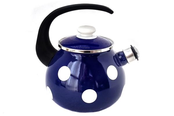 Чайник эмалированный 2.5л 2711/4  Белый горох (синий)
