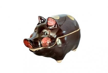 Горшок глиняный  Свинья  цветной