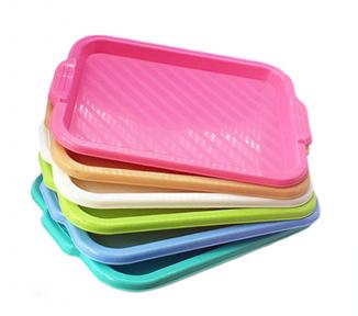 Разнос прямоугольный пластмассовый 420х320мм розовый