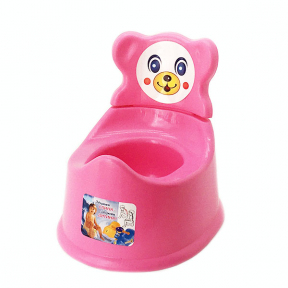 Горшок детский со спинкой пластмассовый розовый