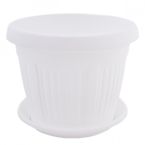 Цветочный горшок Николь 3.7л 220мм с подставкой белый