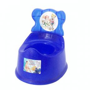 Горшок детский со спинкой пластмассовый синий