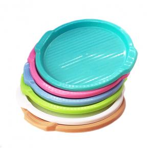 Разнос круглый пластмассовый 350мм голубой