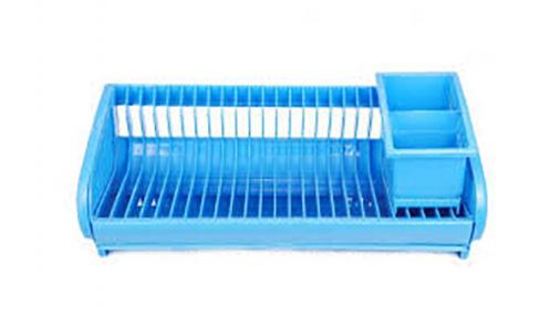 Сушка для тарелок пластмассовая 24 тарелки голубая
