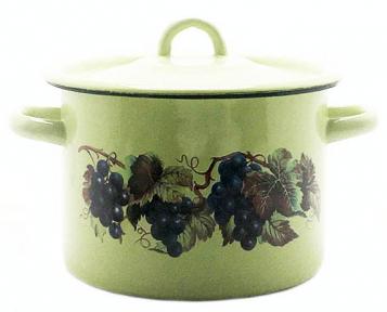 Кастрюля эмалированная 3.0л 1612/4 Виноградная лоза