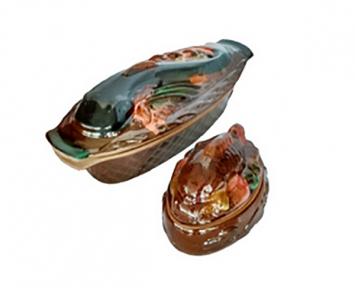 Горшок глиняный набор: рыба и 4 рыбки