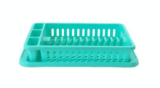 Сушка для тарелок пластмассовая 12 тарелок зеленая