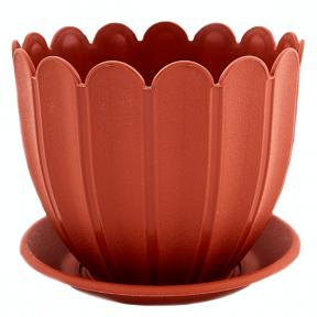 Цветочный горшок Марго 1.1л 140мм с подставкой терракотовый