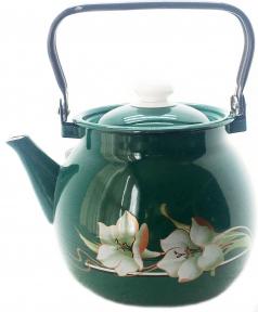 Чайник эмалированный 3.5л 27130/4 сферический Бирюзовая лилия