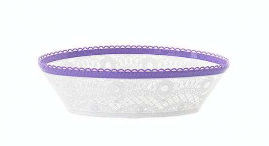 Сухарница пластмассовая М6038 Кружево бело-фиолетовая