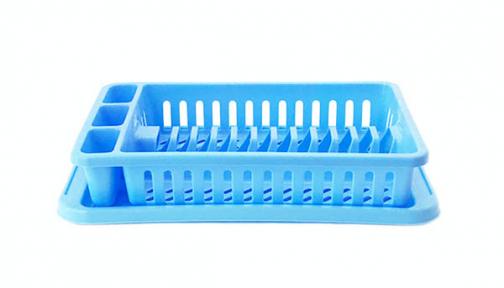 Сушка для тарелок пластмассовая 12 тарелок голубая
