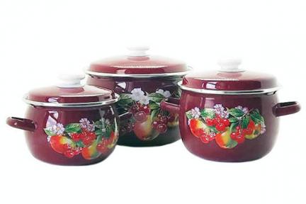 Набор эмалированный 946 Яблоки вишни бордо