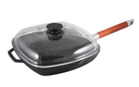 Сковорода-гриль чугунная 260*260мм 1026С с крышкой