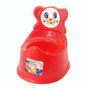 Горшок детский со спинкой пластмассовый красный