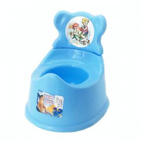 Горшок детский со спинкой пластмассовый голубой
