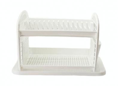 Сушка для тарелок пластмассовая 14 тарелок 2-х ярусная белая