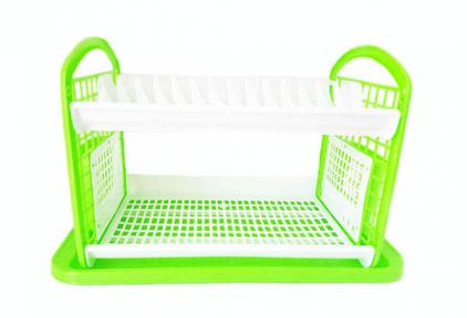 Сушка для тарелок пластмассовая 14 тарелок 2-х ярусная зеленая