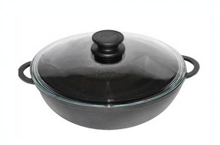 Сковородка Wok чугунная литая  300 мм с двумя литыми ручками и крышкой