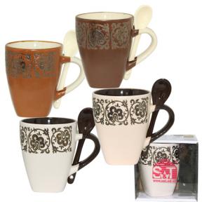 Чашка керамическая с ложкой 320мл  Кофе